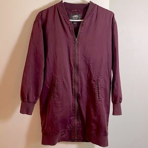 Roots Burgundy Long Bomber Style Jacket XS